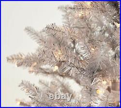 Martha Stewart 7.5' Pre-lit Designer Tinsel Tree / Silver CG1