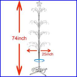 Metal Christmas Tree Rotating Ornament Display Stand Silver Color 74H