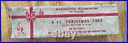 Mid Century 6FT RETRO SHARP SILVER EVERGLEAM ALUMINUM Christmas TREE WithBox