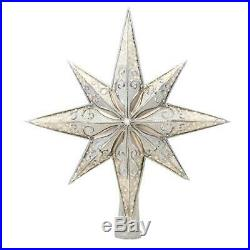 NEW Christopher Radko Silver Stellar Glass Christmas Star Tree Topper 1017493
