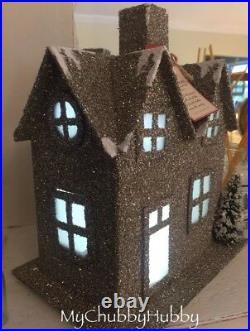 NIB Pottery Barn LIT GERMAN GLITTER LARGE Village HOUSE CHRISTMAS Putz TREE