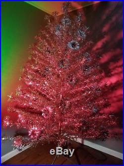 NICE FULL VINTAGE POM POM ALUMINUM 6 1/2 FT SILVER CHRISTMAS TREE WithBOX