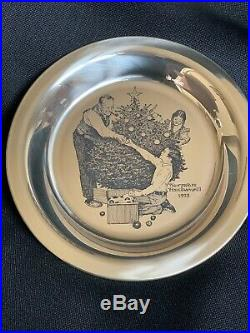 NORMAN ROCKWELL Sterling Silver Christmas Plate 1973 Trimming the Tree Franklin