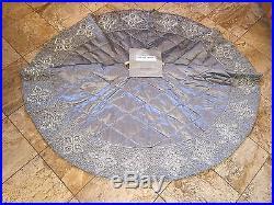 NWT $695 Kim Seybert Neiman Marcus Beaded Silver Luxury Christmas Tree Skirt 62