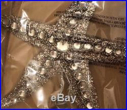NWT Pottery Barn 2Pc GLITTER STARFISH CHRISTMAS Tree Topper & Ornament BLING