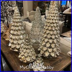NWT Pottery Barn S/3 LIT MERCURY GLASS TREE 1 MEDIUM & 2 SMALL CHRISTMAS