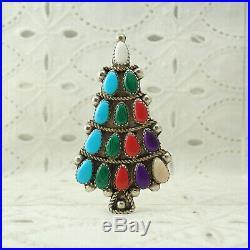 Navajo Turquoise Coral Multi Gemstone Petit Point Christmas Tree Pin Brooch 11 g