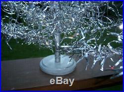 Neat Collector's Vtg 2 Ft. Retro Aluminum Pom Silver Pink Bulbs Xmas Tree