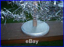 Neat Collector's Vtg 2 Ft. Retro Aluminum Pom Silver Red Bulbs Xmas Tree