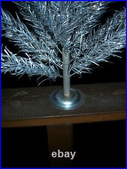 Neat! Vtg 2.5 Ft Retro Silver Taper Stainless Aluminum Xmas Tree