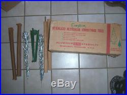 Nice Htf Vtg 4 Ft Retro Silver Stainless Frosty Fountian Aluminum Xmas Tree