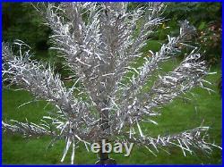 Nice Vtg 2.5 Ft Retro Silver Stainless Aluminum Xmas Tree