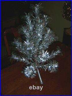 Nice Vtg 2 Ft. Aluminum Stainless Silver Evergleam Pom Pom Xmas Tree