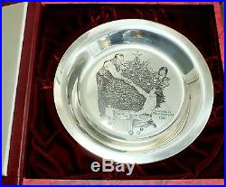 Norman Rockwell Plate Solid Sterling Silver Trimming the Tree 1973 Christmas 8