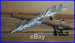 Old 1959 Aluminum Pom Pom 4' Silver Christmas Tree with 31 Branches UNUSED in Box