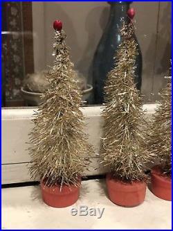 Original Box of 12 Antique German Silver Tinsel Putz Christmas Trees
