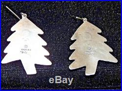 Original Signed Don Lucas STERLING Silver CHRISTMAS TREE Earrings Coral Gaspeite