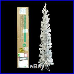PRE-LIT SILVER TINSEL aluminum PENCIL CHRISTMAS TREE with METAL STAND / 6 FT