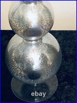 Pair blown glass HANGING ORBS & Matching FINIAL tree topper Christmas UNIQUE