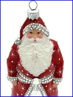 Patricia Breen Asprey Santa Red Silver Crystal Christmas Tree Holiday Ornament