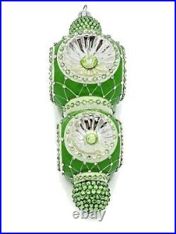 Patricia Breen Majestic Reflector Ornament Green Silver Christmas Tree Jeweled