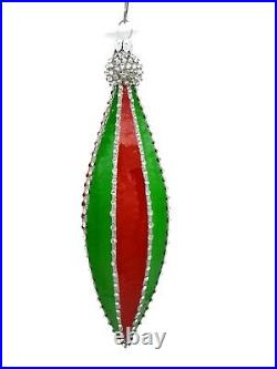 Patricia Breen Vesica Piscus Red Green Silver Jeweled Christmas Tree Ornament