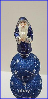 Patricia Breen Vintage Blue Silver Glittered Angel Christmas Tree Finial Topper