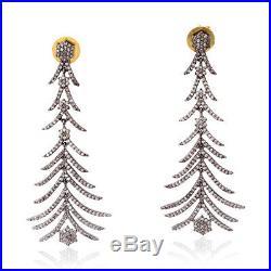 Pave Diamond Christmas Tree Drop Earrings 925 Sterling Silver Handmade Jewelry
