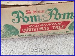 Pom Pom SILVER Aluminum Vintage Christmas tree The Sparkler 6 Ft. Tree With BOX