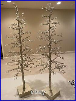 Pottery Barn Faceted Mirror Glass Christmas Trees Set of Two 22 Tall