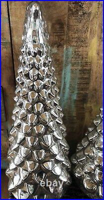 Pottery Barn LARGE Medium Small LIT MERCURY GLASS TREE Set Of 3 Christmas Decor