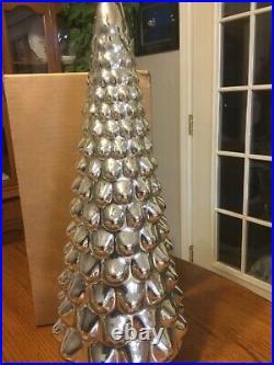 Pottery Barn LIT MERCURY GLASS CHRISTMAS TREE cloche Large NewSilverSold out
