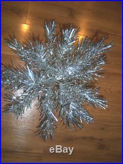 Pretty Collector's Vtg 2 Ft. Retro Aluminum Silver Table Top Christmas Tree