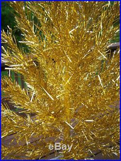 Pretty Rare Htf Vtg 4 Ft. Gold Silver Stainless Alunminum Evergleam Xmas Tree