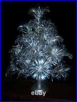 Pretty! Vtg 2 Ft Retro Silver Taper Pom Pom Stainless Aluminum Xmas Tree