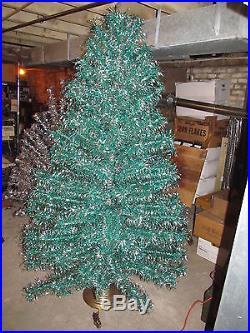 rare vtg 7 green silver twist curl aluminum christmas tree 193 branches 30 - Aluminium Christmas Tree