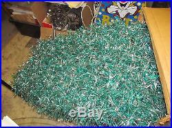 RARE Vtg 7' Green & Silver Twist Curl Aluminum Christmas Tree 193 Branches #30