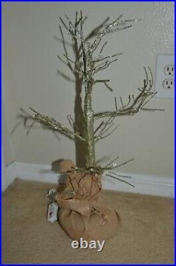 Rare Restoration Hardware Silver 2' Lighted Decorative Christmas Tree Burlap Bag