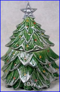 Rare Vintage 1959 Nelson McCoy Pottery Christmas Tree Cookie Jar Silver Star