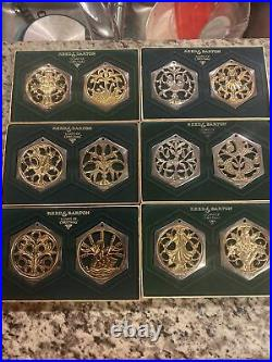 Reed & Barton 12 Days Of Christmas Silver Plate Ornaments Full Set Tree Trim