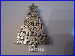 Retired James Avery Sterling Silver Pax Peace Christmas Tree Brooch Pin Pendant