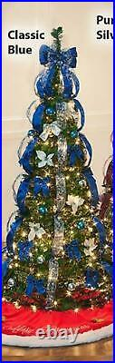 Rich Pacific 7.5' Pop-Up Pre-Lit/Pre-Decorated Christmas Tree Blue Silver Green