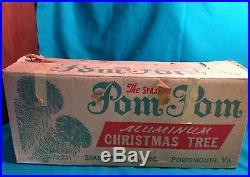 SPARKLER Pom-Pom 4' Ft Silver Aluminum Christmas Tree 100% Complete vintage