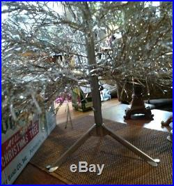 SPARKLER Pom-Pom 4' Ft Silver Aluminum Christmas Tree 100% Complete vintage box