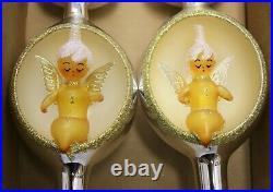 Set of 2 Italian Blown Glass Finials Silver Angel Tree Topper Reflector Gold