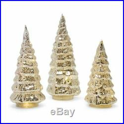 Set of 3 Gold Silver Lighted Mercury Glass Christmas Trees Indoor Holiday Decor