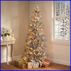 Silver Christmas Tinsel Tree Prelit 200 Color Changing LED 6 FT