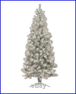 Silver Christmas Tree Artificial Pre Lit Lighted Indoor Holiday Decor Xmas Stand