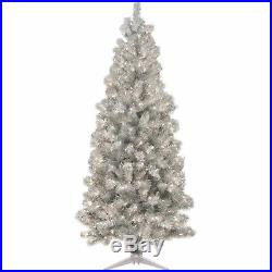Silver Luxurious Christmas Tree Artificial Xmas Stands 6ft 250 Lights 34 Girth