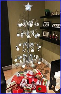 Silvertone 74 Rotating Ornament Tree Holds 90 Ornaments